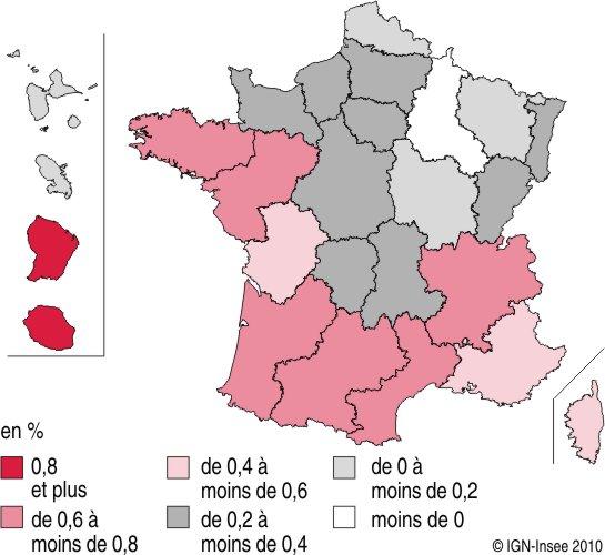 Taux de croissance annuels moyens de la population par région entre 2007 et 2040 d'après l'INSEE (en %)