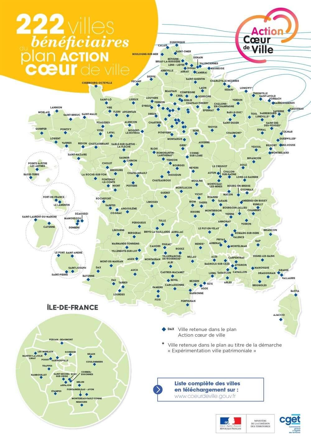 Les villes éligibles au dispositif Pinel/Denormandie en 2019