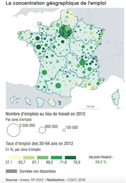 La concentration géographique de l'emploi en France